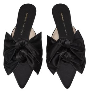 fb5331d62b3 Zara Black Flat with Bow Mules Slides Size US 7.5 Regular (M