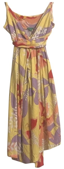 Item - Yellow Surplice Floral Slip On Short Casual Dress Size 6 (S)