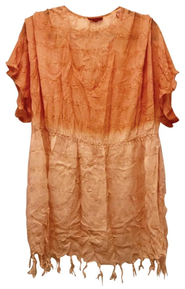 711ce2c6c64 Tigerlily Orange V-neck Tassel Ombre Cover-up Sarong Size 8 (M ...
