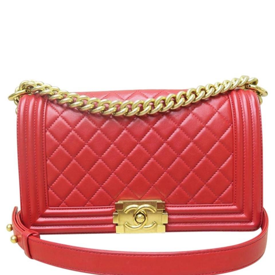 df6de6e58be9 Chanel Boy Medium Red Lambskin Leather Shoulder Bag - Tradesy