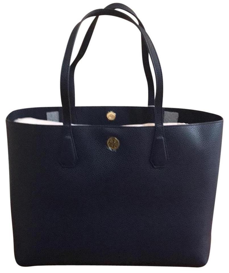 Tory Burch Brody New with Dustbag Women s Royal Navy Leather Tote ... f4a1ec87cb