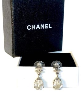 Chanel Extremely Sparkly Large Tear Drop Crystal CC Logo Swing Pierced