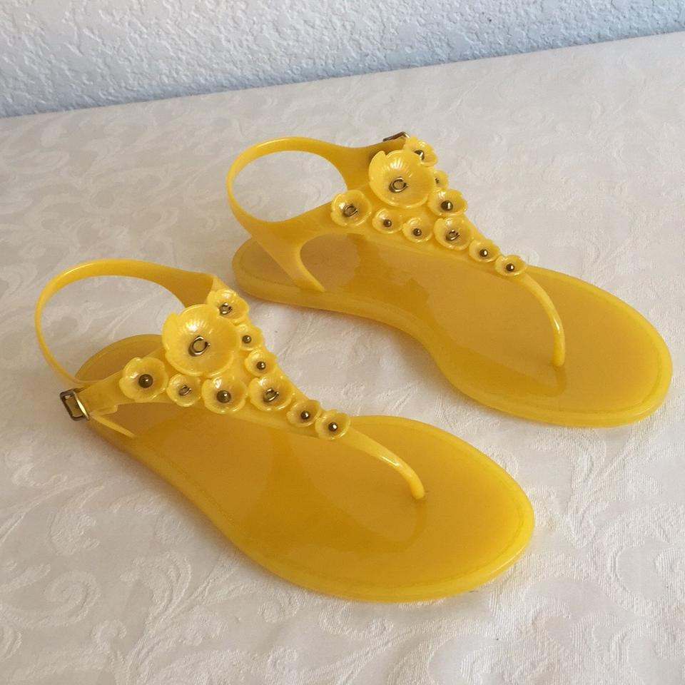 0d18f4a6c Coach Yellow Tea Rose Jelly Thong Sandals Size US 9 Regular (M
