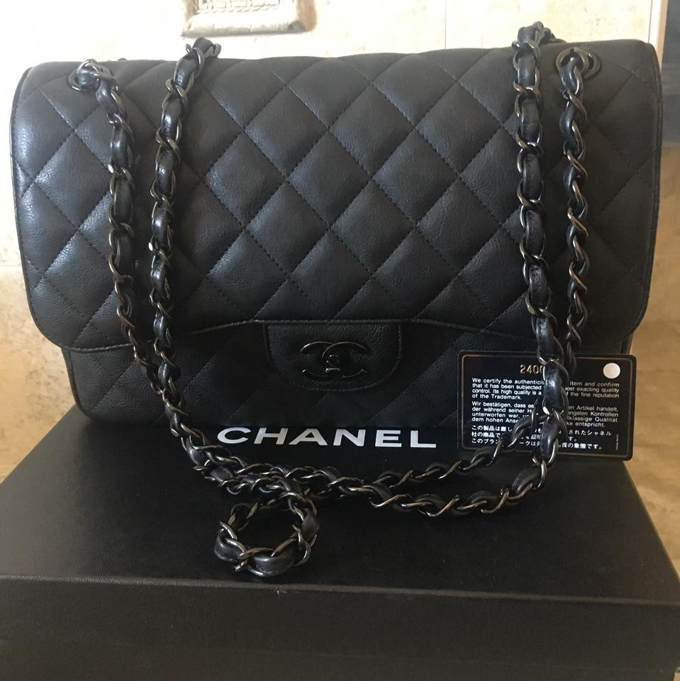 56c8f89a47d8 Chanel Classic Flap So Black Jumbo Crumpled Calfskin Leather ...