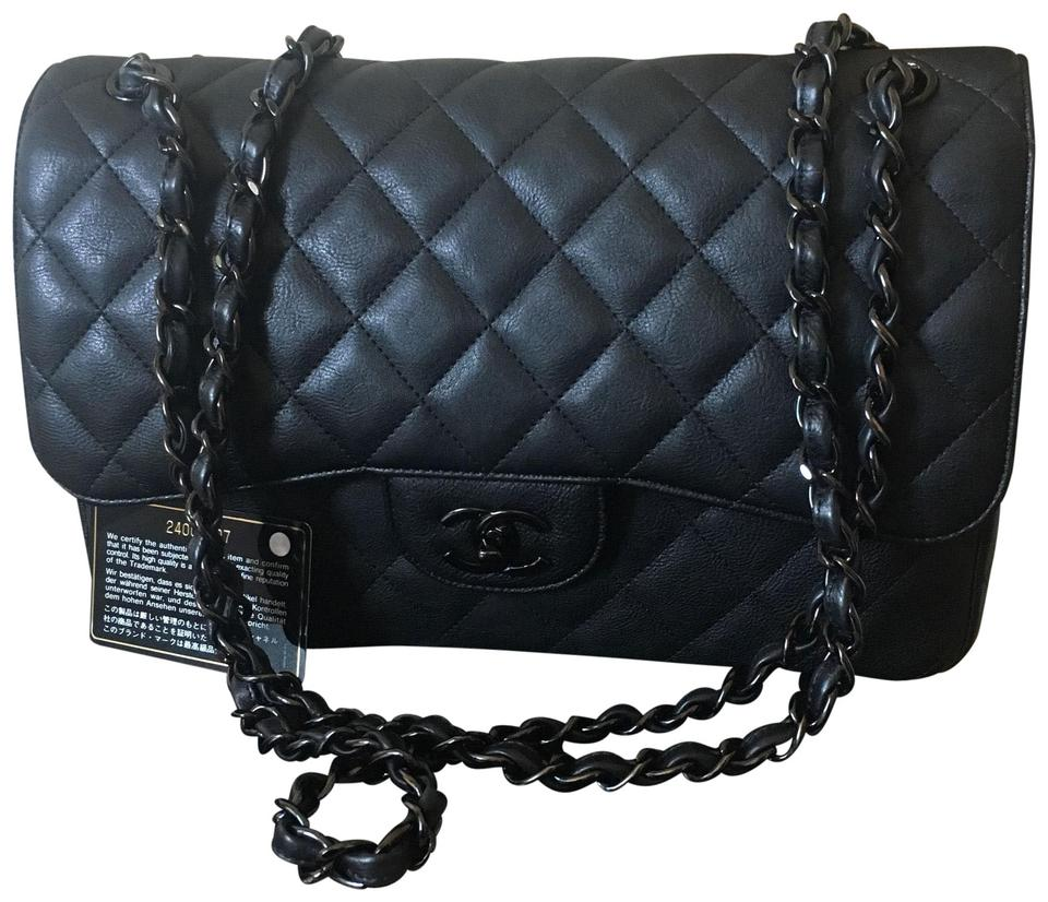 c548ad039f8c Chanel Classic Rare Hard To Find So Black Crumpled Jumbo Double Flap ...