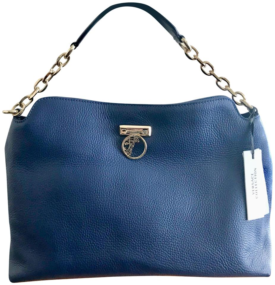 777e3f68a83d Versace Large Handbag Blue Pebbled Leather Hobo Bag - Tradesy