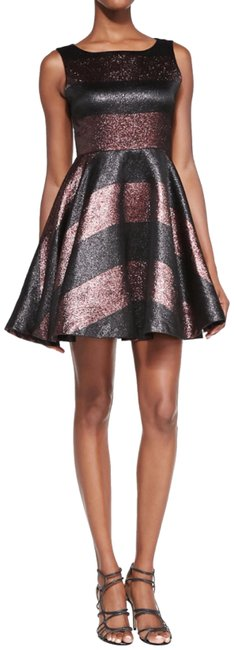 Alice + Olivia Metallic Black & Bronze Foss Beaded Party Short Cocktail Dress Size 4 (S) Alice + Olivia Metallic Black & Bronze Foss Beaded Party Short Cocktail Dress Size 4 (S) Image 1