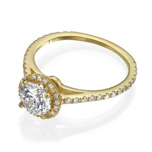 14k Yellow Gold 1.35 Carat Tcw H/Si1 Diamond In Solid Engagement Ring