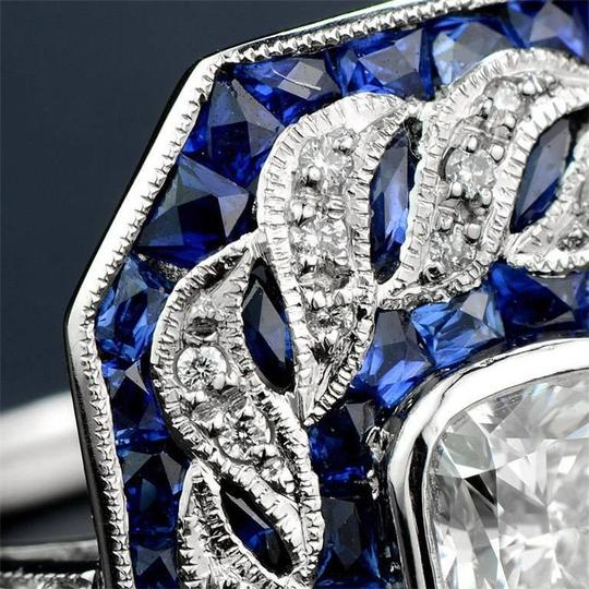 Fashion Jewelry For Everyone Blue White 14k Gold Plated Sapphire Topaz Stone Women Party Size 7 8 9 Ring