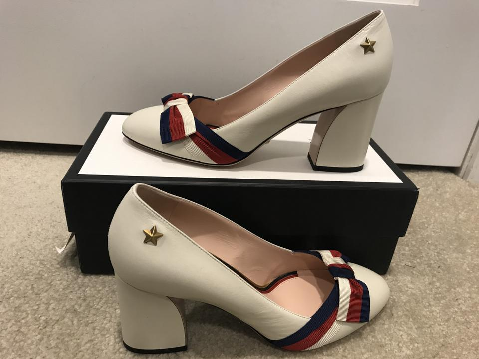 2df47d43 Gucci White Aline Grosgrain Bow & Leather Block-heel Pumps Size US 10  Regular (M, B) 23% off retail