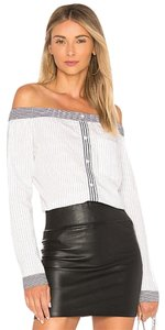 MISA Los Angeles Pinstripe Cotton Top Black and white