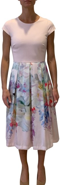 Item - Sold Pink and Floral Mid-length Work/Office Dress Size 2 (XS)