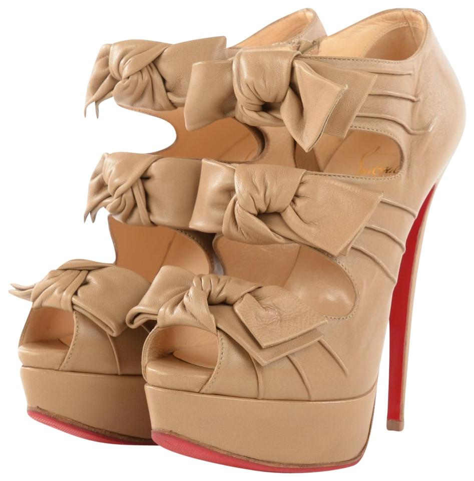 e455b7d2429 Christian Louboutin Beige Leather Madame Butterfly Boots Booties. Size  EU  ...