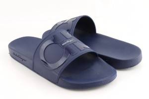 Salvatore Ferragamo Blue Gancini Pool Slide Sandals Shoes