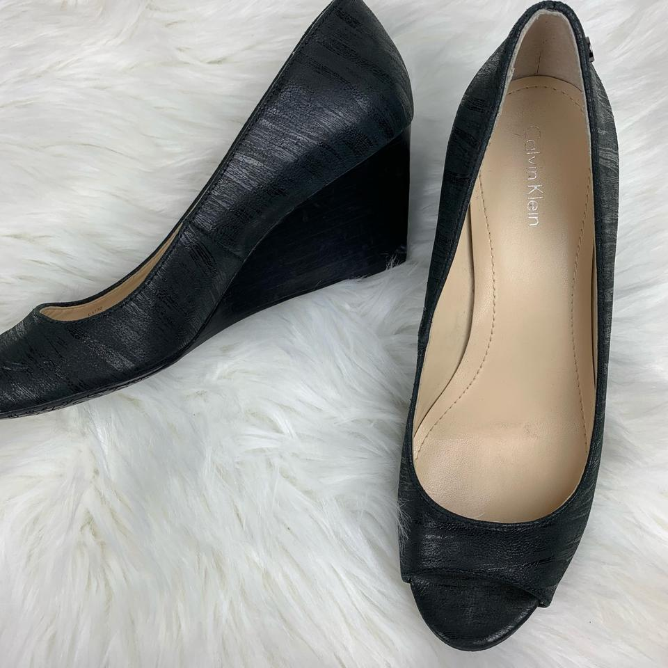 fe6a4410f8c Calvin klein black shelley open toe heel wedges size us regular jpg 960x960  Tradesy oatmeal calvin