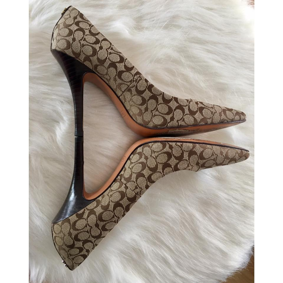 95c76de7ac3 Coach Beige and Brown Signature Logo Canvas On Leather Stiletto Pointed Toe  Heels Pumps Size US 7 Regular (M, B)