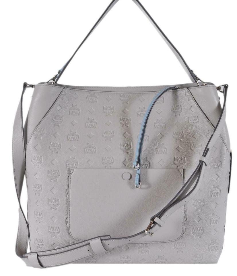 09d73018a MCM Klara Hobo Visetos Large Purse Handbag Grey Leather Cross Body Bag