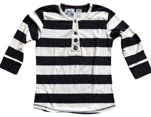 Trovata T-shirt Henley Buttons T Shirt navy/white stripe