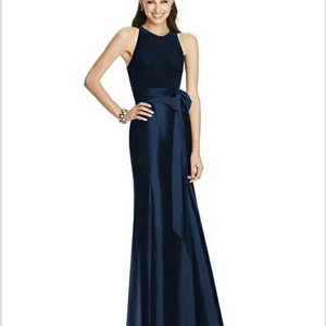 Alfred Sung Midnight Blue Polyester D373 Formal Bridesmaid/Mob Dress Size 14 (L)