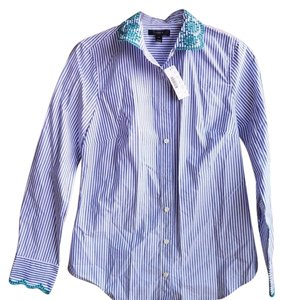 J.Crew Button Down Shirt Blue, white, and green