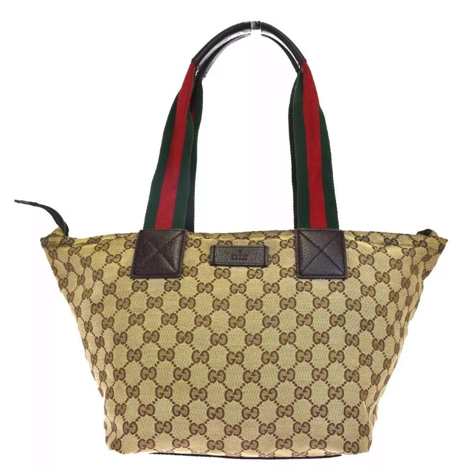 566743af9 Gucci Gg Sherry Line Canvas Leather Brown Shoulder Bag - Tradesy