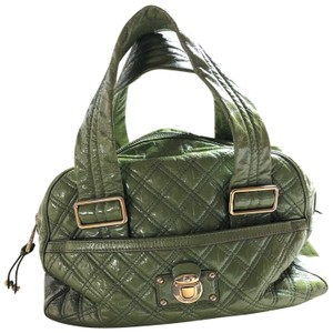 Marc Jacobs Bowler Patent Leather Satchel in moss green (light olive)