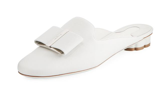 Item - White Sciacca Leather Vara Bow Floral Heel Mules/Slides Size US 9 Regular (M, B)