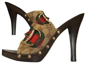 Gucci Red, Green, Brown Mules