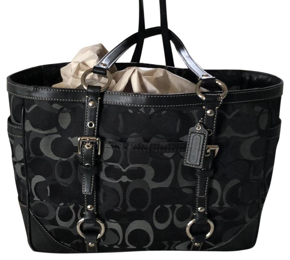 Coach Shades Of Monogram Black and Grey Coated Canvas Leather Tr Shoulder  Bag 58082ec3f5a71