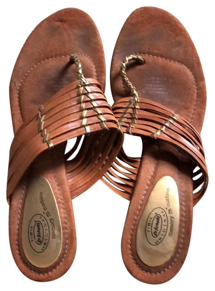 4ced04c46 Dr. Scholl s Brown Memory Fit Cushion Heeled Thong Sandals Size US ...