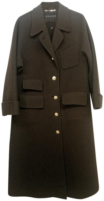 Item - Dark Brown Chocolate Wool/Cashmere with Gold Signature Buttons Coat Size 10 (M)