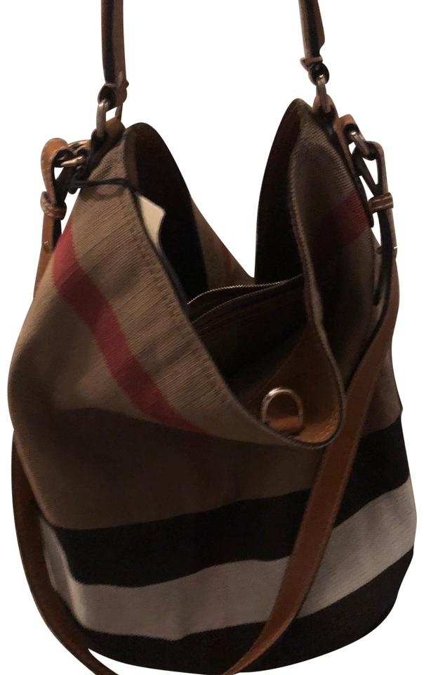 Burberry Ashby Black Brown Canvas  Leather Trims Hobo Bag 32% off retail e4727cdb68355