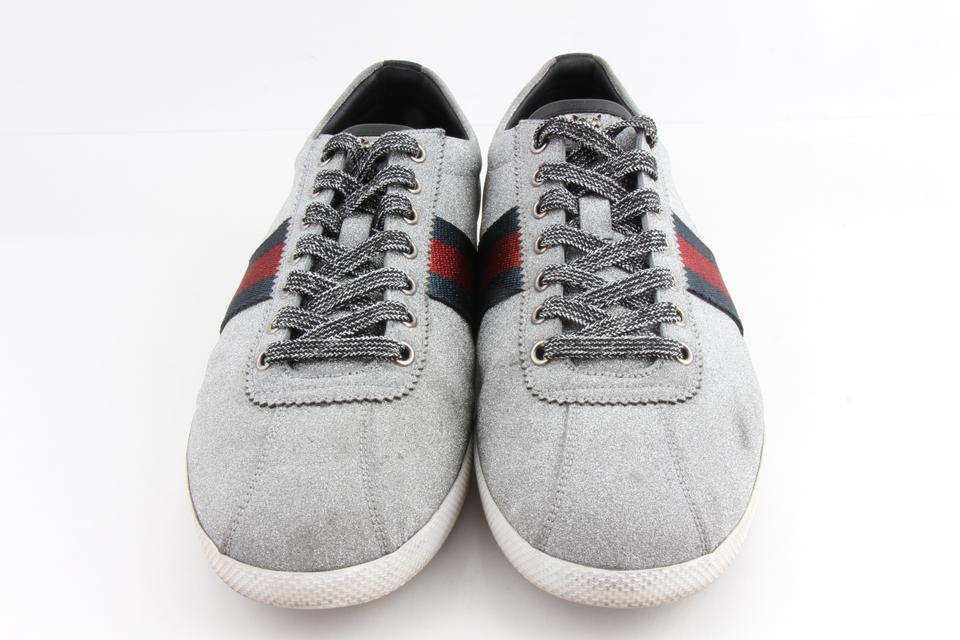 c910566bb959 Gucci Silver Glitter Web Sneakers with Studs Shoes - Tradesy
