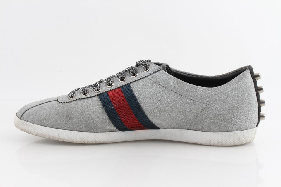 e13d45072c30 Gucci Silver Glitter Web Sneakers with Studs Shoes Image 11.  123456789101112. 1 ∕ 12