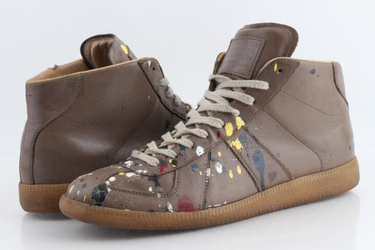 Maison Margiela Multicolor Splatter Leather High Top Sneakers Shoes