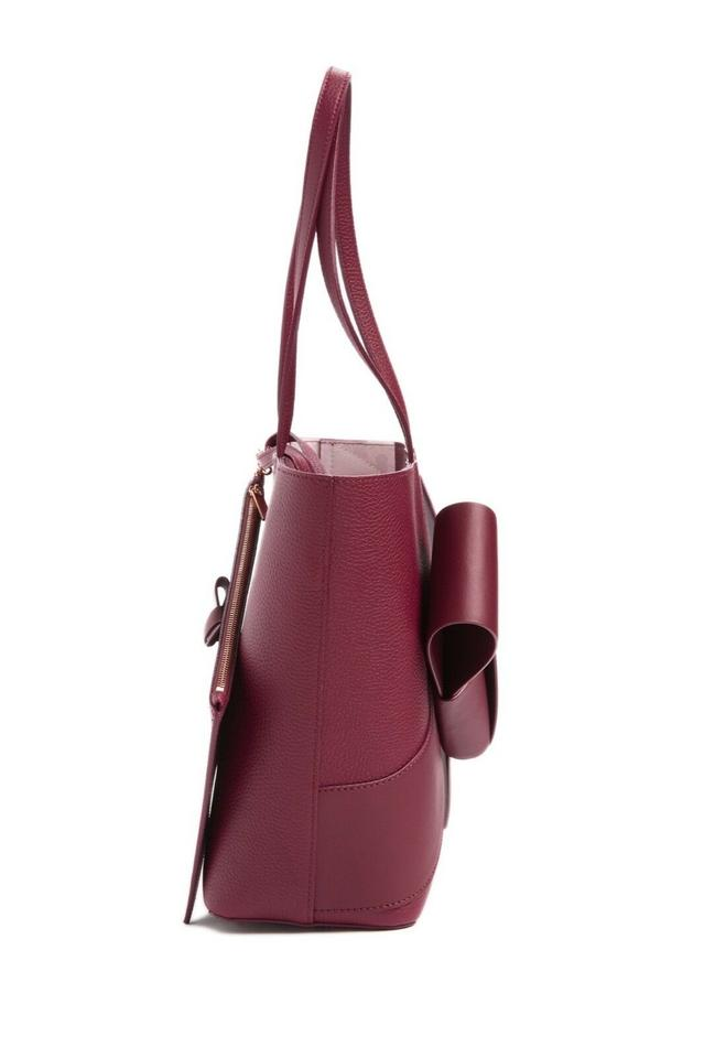 a526433b7a Ted Baker Allie Giant Knot Bow Maroon Leather Shopper Tote Shoulder Bag  Image 4. 12345