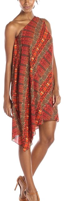 Item - Red Orange Black Maasai One Shoulder Mid-length Night Out Dress Size 4 (S)