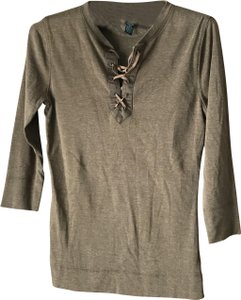 Lauren Jeans Company Petite Henley-like Faux Suede Tie Banded Cotton/Polyester Tunic