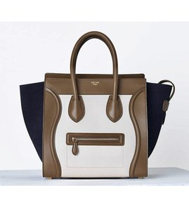 Céline Luggage Mini Luggage Tricolor Olive Tote in Multicolor White Navy  Suede 9dc9397134