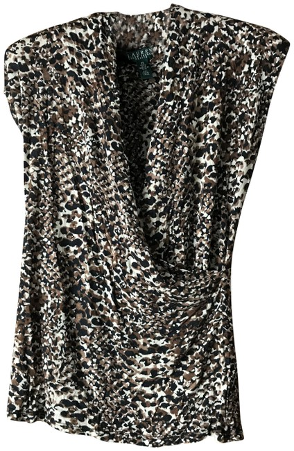 Item - Tan Brown Black Animal Print Surplice Blouse Size Petite 6 (S)