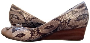 Cole Haan Snake skin, tan patent leather. Wedges