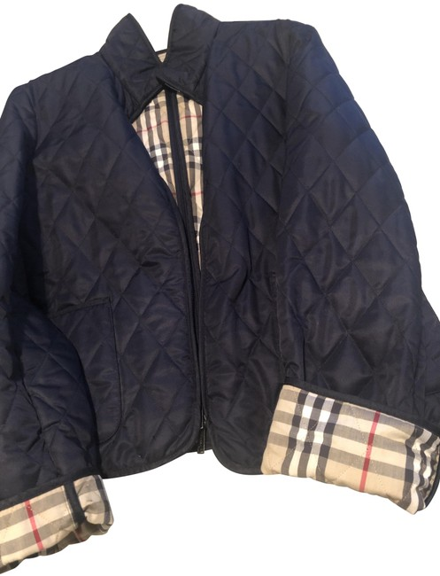 Item - Navy Blue Quilted Check Jacket Size 12 (L)