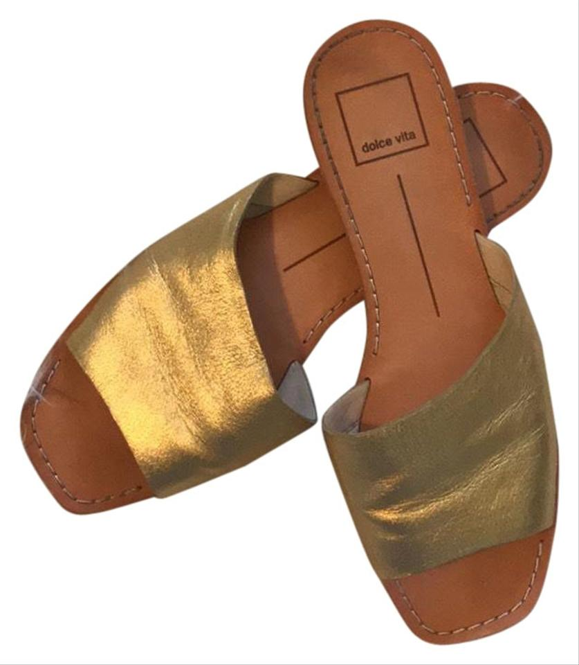 b0736a638d27 Dolce Vita Gold Cato Slides Sandals Size US 7.5 Regular (M