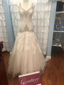 Allure Bridals Champagne/Ivory/Cafe Lace 9127 Traditional Wedding Dress Size 12 (L)
