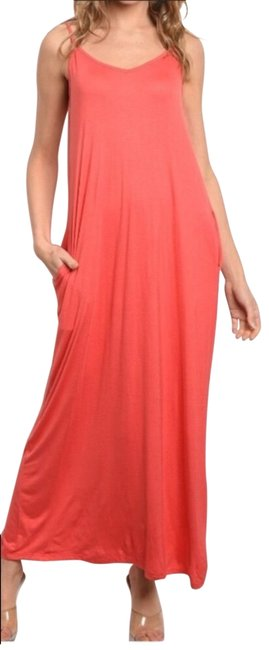 Item - Coral With Pockets Long Casual Maxi Dress Size 12 (L)