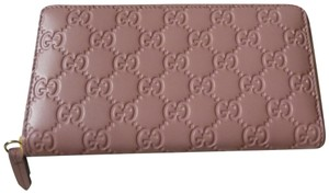 c7bffdf3402f Gucci Gucci 410102 Pink Leather 'GG' Guccissima Zip Around Wallet