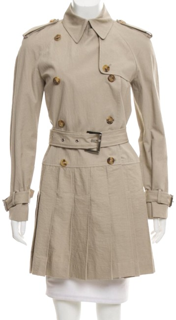Item - Beige/Tan Pleated Dress Coat Size 2 (XS)