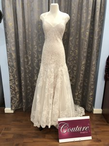 Allure Bridals Gold/Ivory Lace 9208 Traditional Wedding Dress Size 12 (L)