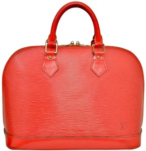 Louis Vuitton Alma Epi Leather Satchel in Red