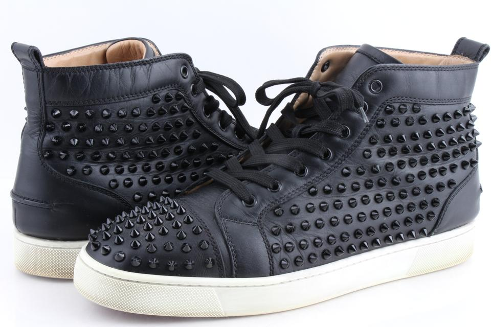 new styles ef3a8 df5ee Christian Louboutin Black Louis Studded Hi-top Sneakers Shoes 30% off retail